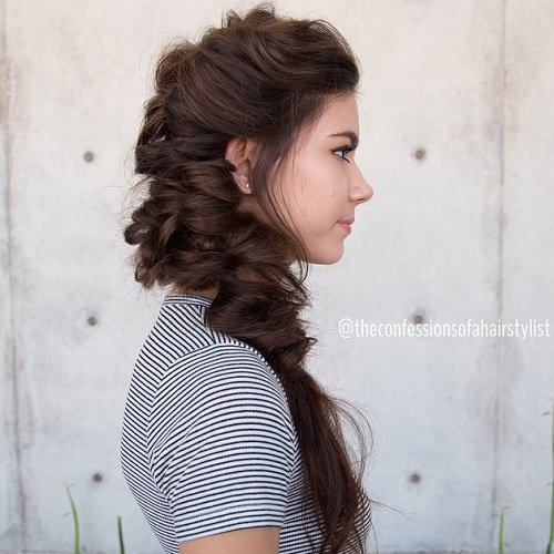 Messy Side Bun With Headband Braid