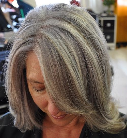 long bob with bangs for older women