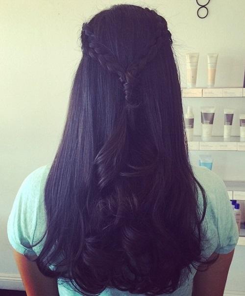 two braids half updo