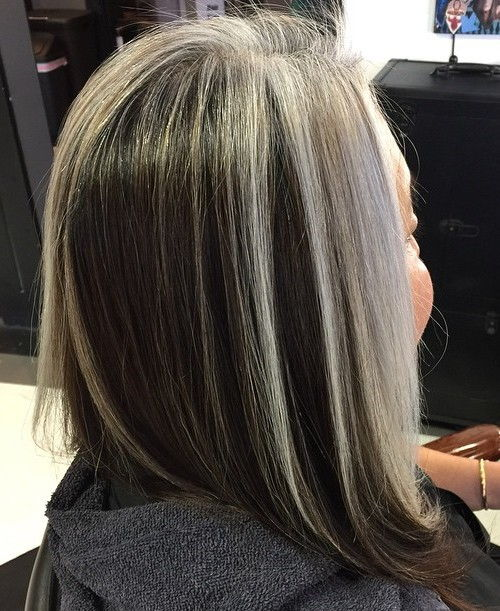 long black bob with gray balayage