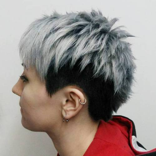 Silver Blonde And Black Undercut Pixie