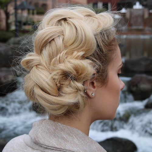 Messy Chunky Braid Updo
