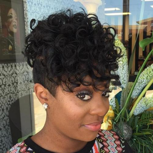 Black Curly Undercut Hairstyle