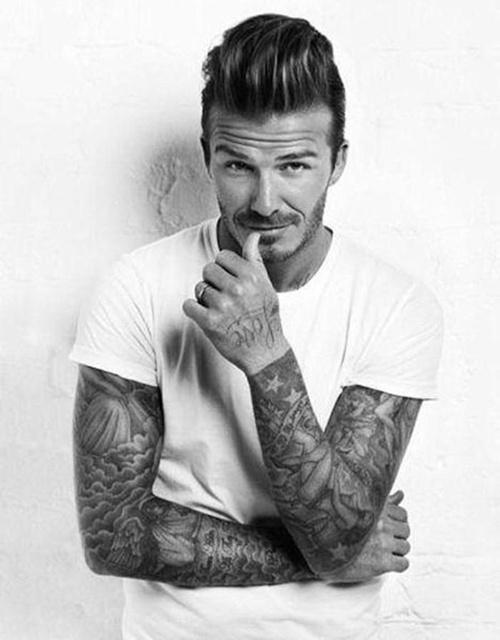 David Beckham short pompadour hairstyle