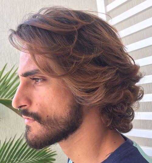 High Quality Menu0027s Medium Wavy Balayage Hairstyle