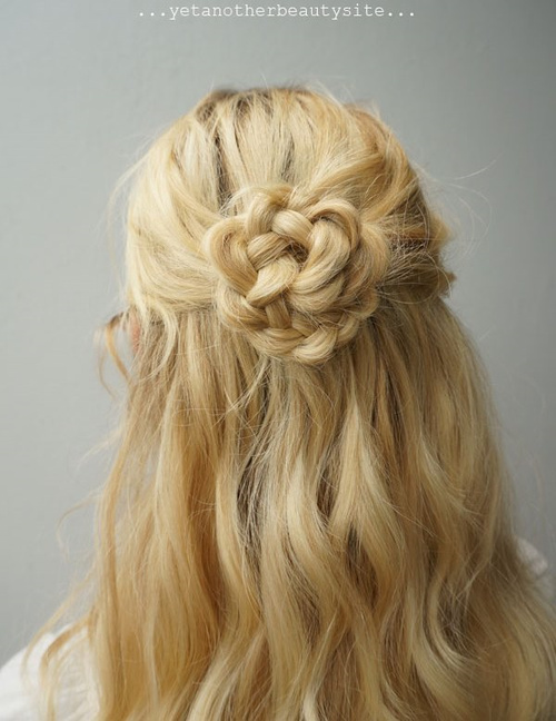 braided flower half updo