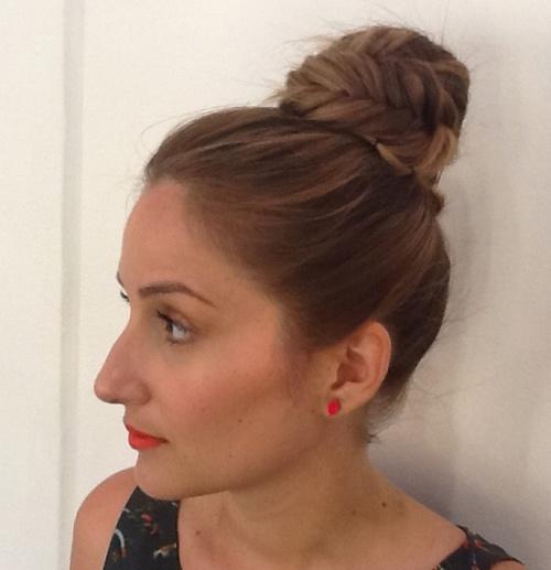 easy fishtail bun updo for long hair