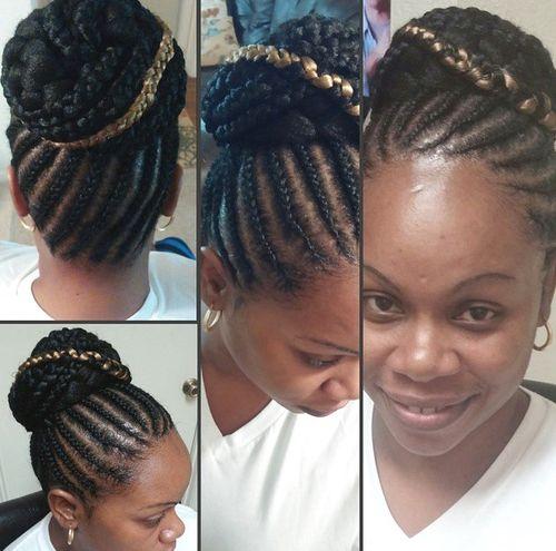 cornrows and bun for black women