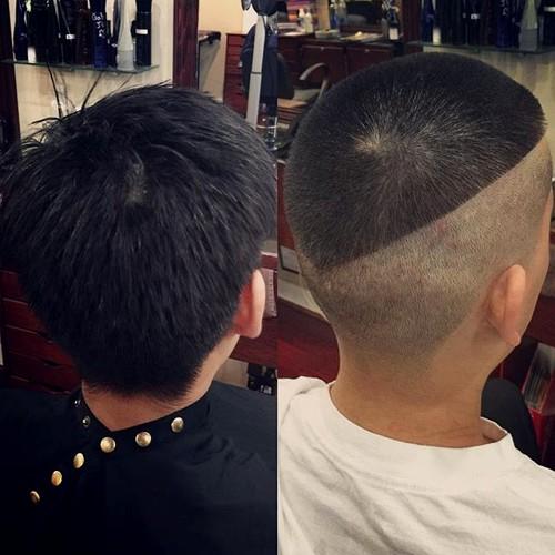 half shaved extra short men's haircut