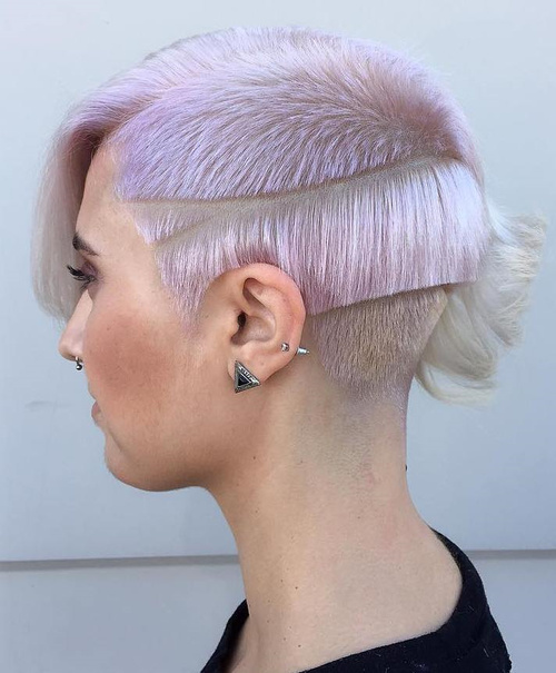 short pastel purple asymmetrical hairstyle
