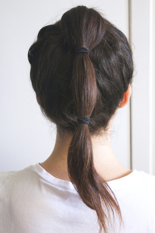 easy bubble ponytail for long hair