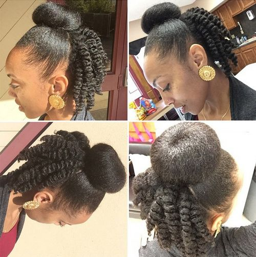 natural black bun and twists hairstyle