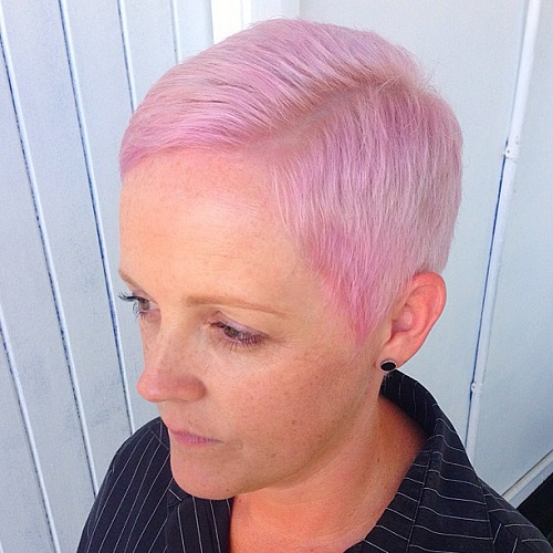 Side-Parted Pastel Pink Pixie