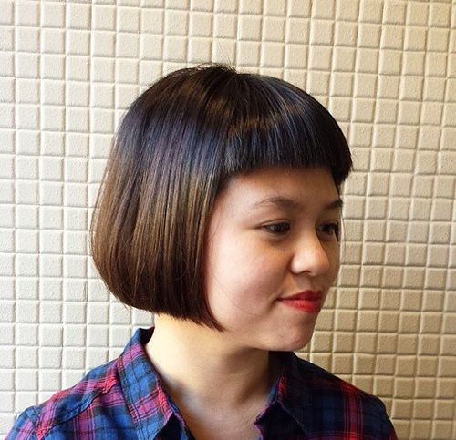 short straight bob with short bangs