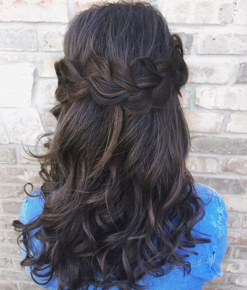 Wavy Half Updo With Crown Braid