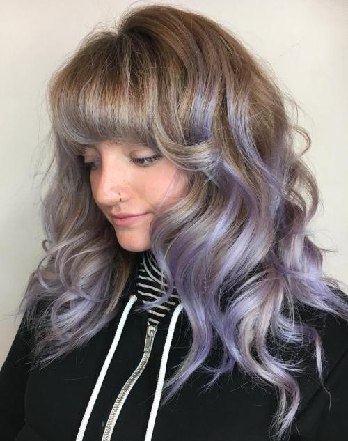 Light Brown Hair With Lavender Balayage