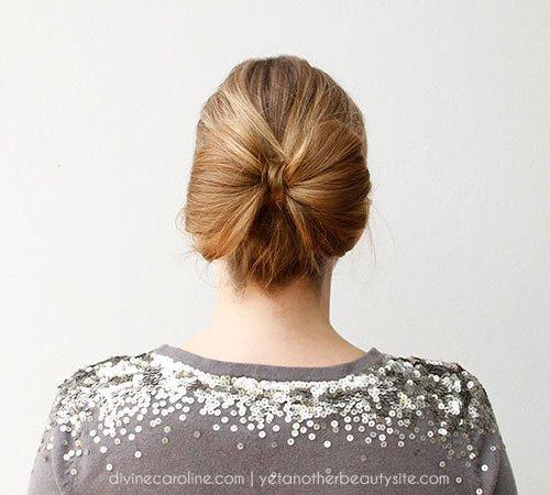 easy bow updo for long hair