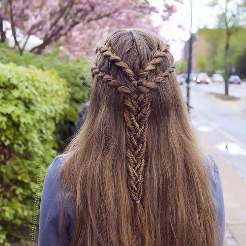 four braids into one half updo