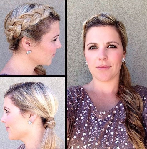 side-parted ponytail with headband braid