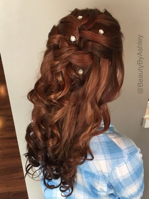 half up curly braided hairstyle