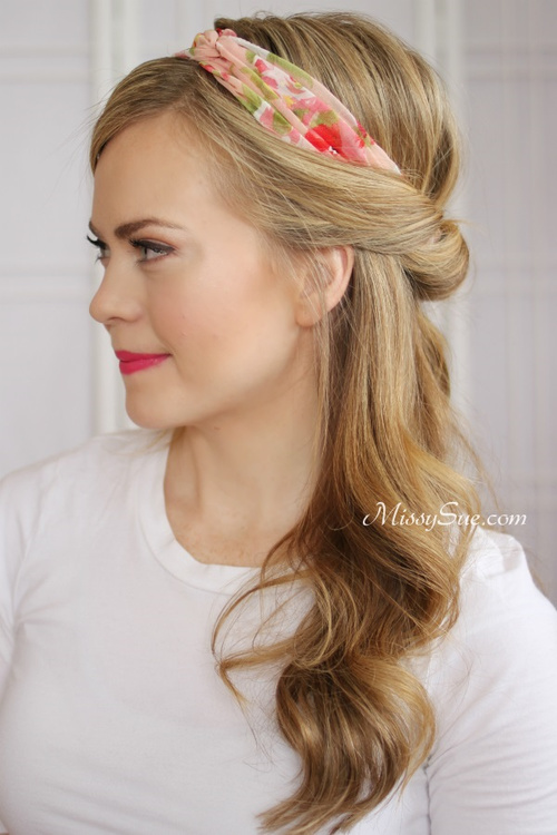 half updo with a headband