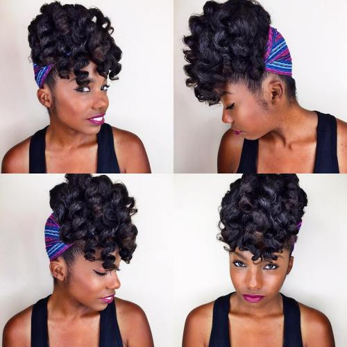 Curly Black Updo With Head Scarf