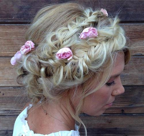 two disheveled crown braids updo
