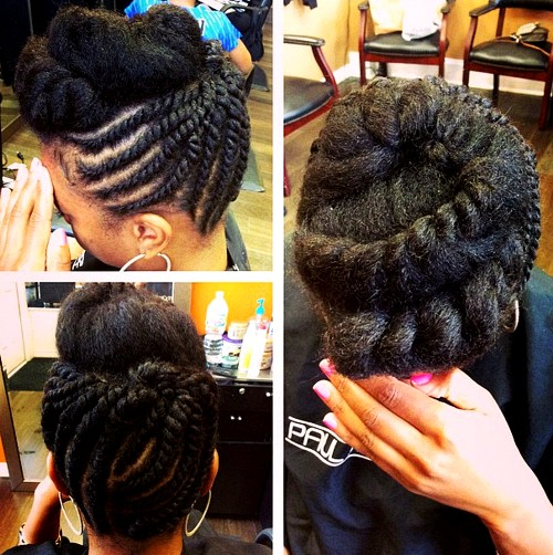 black natural updo with twists