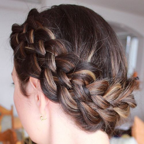 crown braid with highlights updo