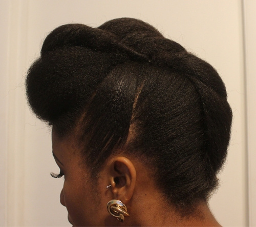 french roll updo for medium natural hair