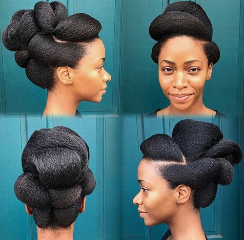 voluminous updo for natural hair