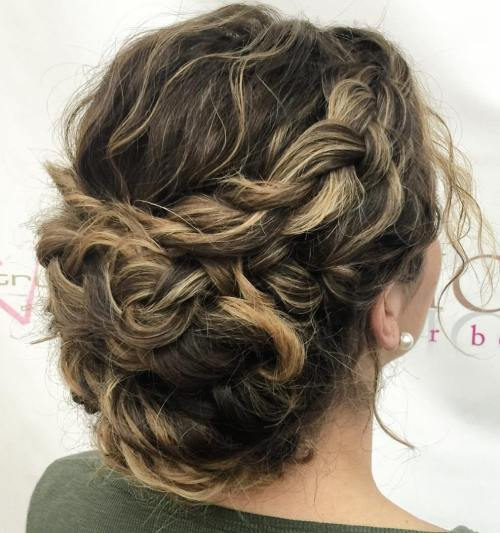 Messy Twisted Bun With A Crown Braid