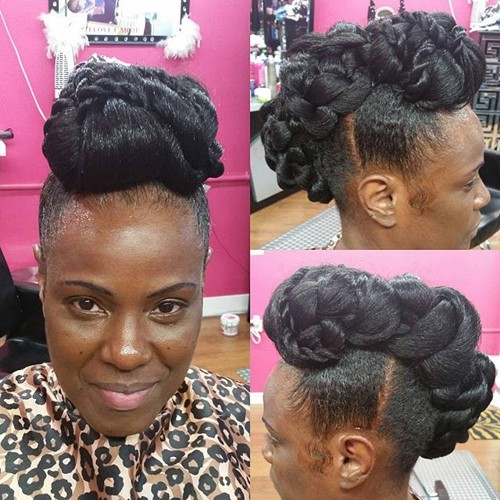 50 updo hairstyles for black women ranging from elegant to for A decoration that is twisted intertwined or curled