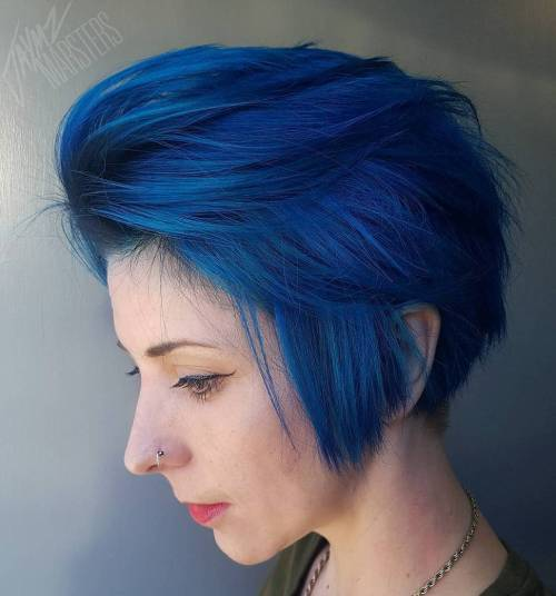 Long Layered Blue Pixie