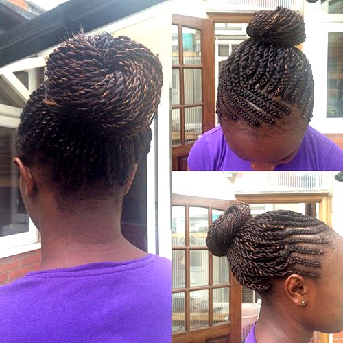 bun from twists for black women