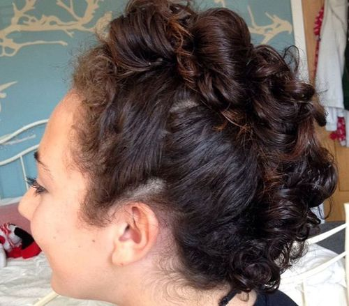 cute mohawk updo for curly hair