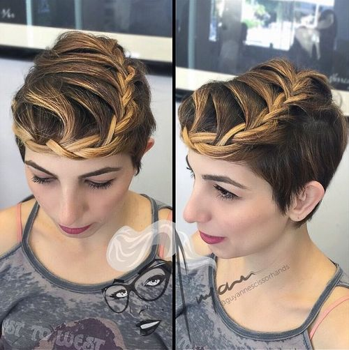long pixie with crown braid