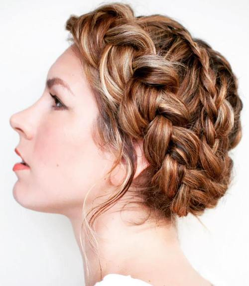curly fade hairstyle : 40 Breezy Crown Braid Hairstyles for Summer