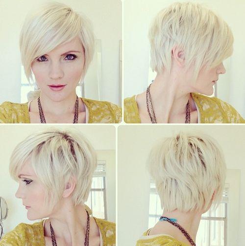 long platinum blonde pixie