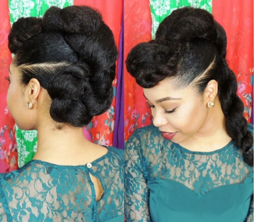 black twisted updo for natural hair