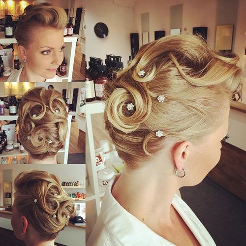 vintage blonde updo for short hair