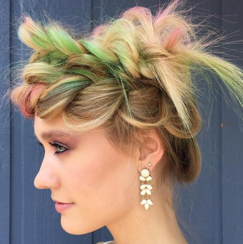 messy crown braid updo for straight hair