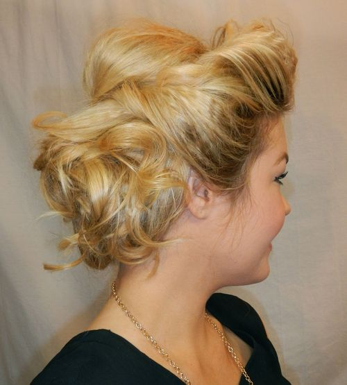 messy curly updo for blonde hair