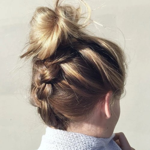 Messy Upside Down Braid And Bun Updo