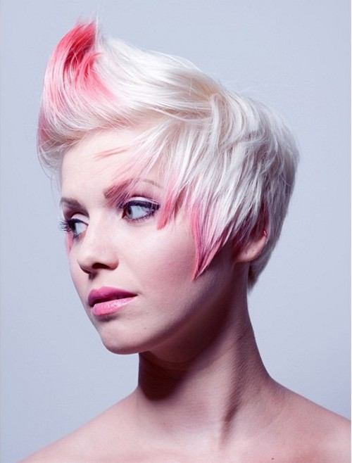 short blonde hairstyle with pink accents