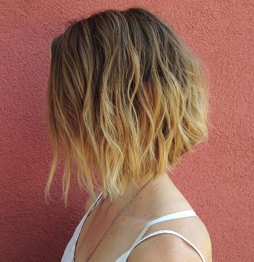 A-line wavy bob with ombre