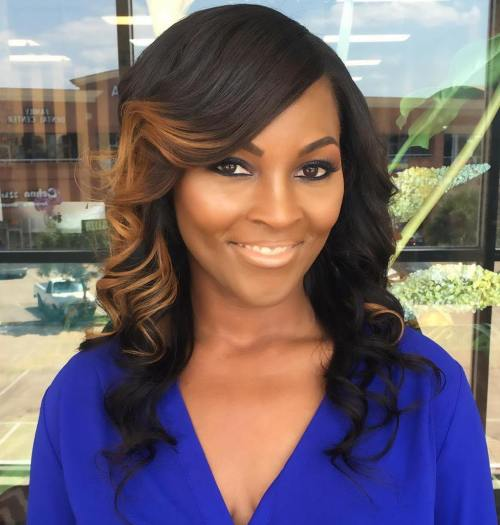 Black Curled Hairstyle With Caramel Balayage
