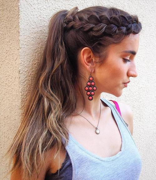 side dutch braid and ponytail