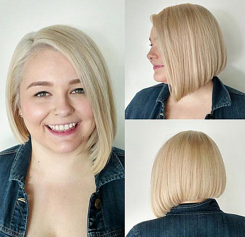 blonde asymmetrical bob for a round face