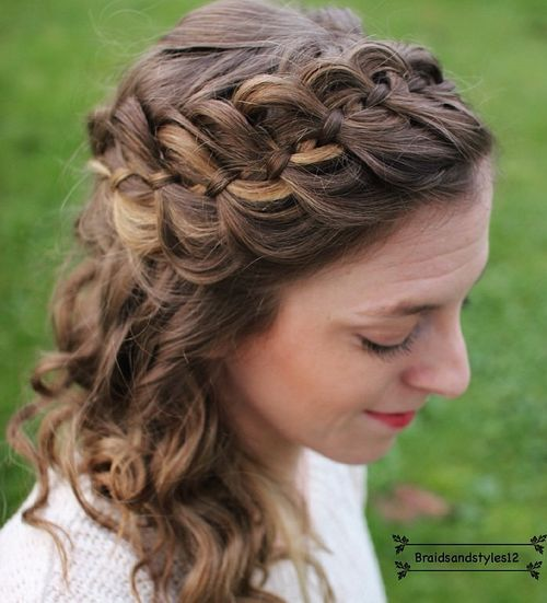 half updo with a four-strand headband braid